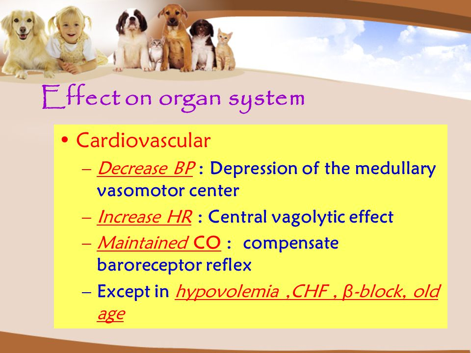 Effect on organ system Cardiovascular