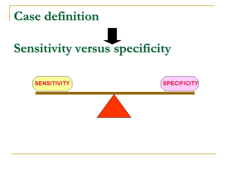 Case definition Sensitivity versus specificity
