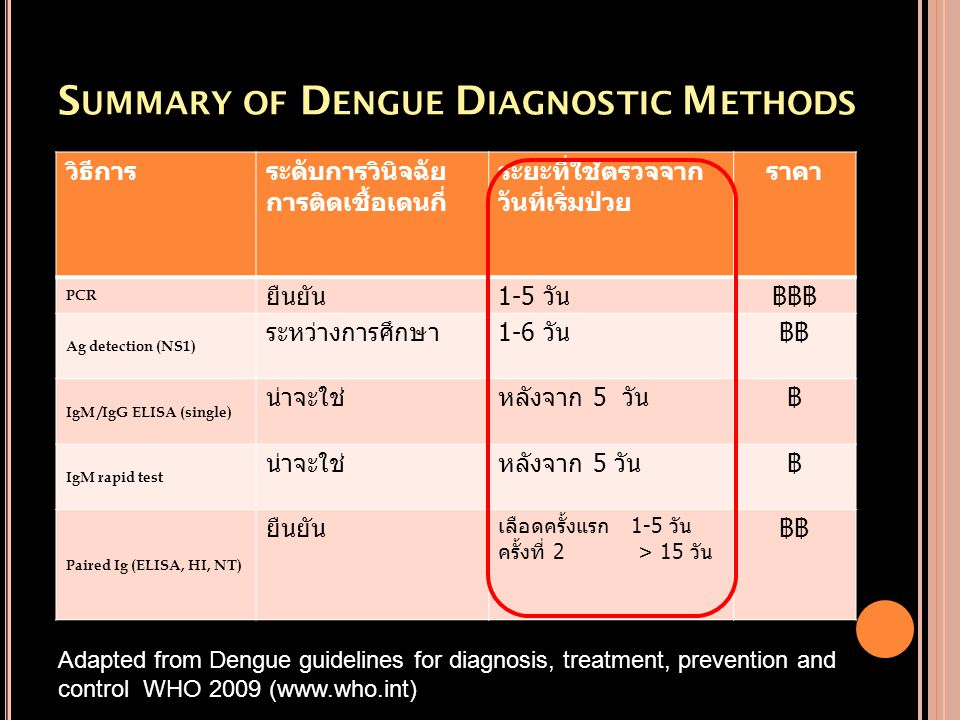 Summary of Dengue Diagnostic Methods