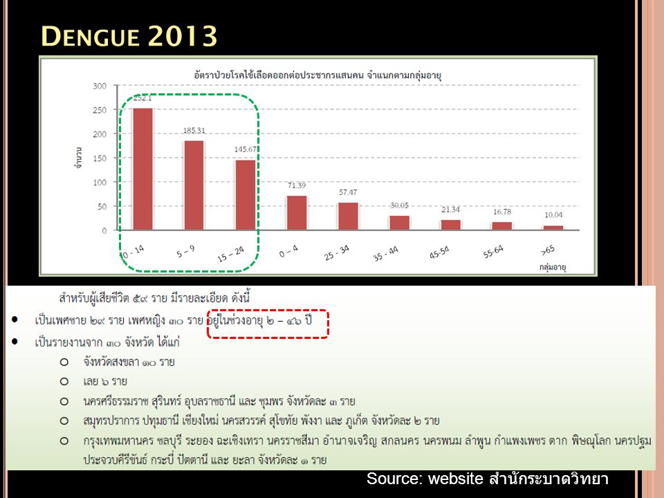 Dengue 2013 Source: website สำนักระบาดวิทยา