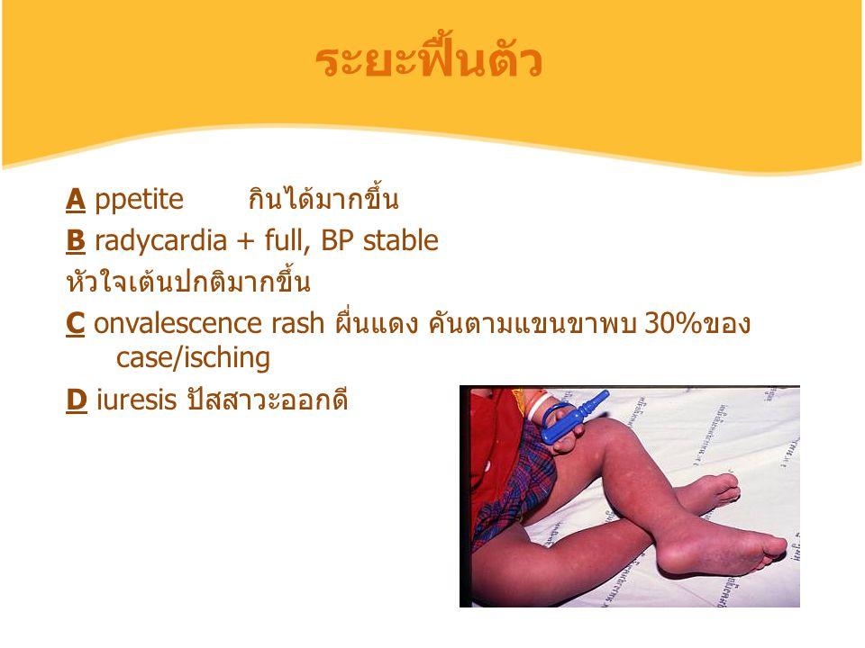 ระยะฟื้นตัว A ppetite กินได้มากขึ้น B radycardia + full, BP stable