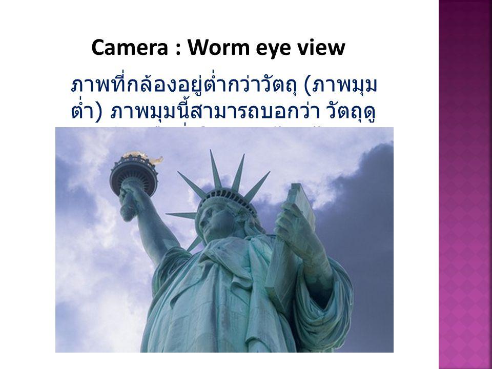 Camera : Worm eye view ภาพที่กล้องอยู่ต่ำกว่าวัตถุ (ภาพมุมต่ำ) ภาพมุมนี้สามารถบอกว่า วัตถุดูน่ากลัว หรือยิ่งใหญ่ แค่ไหนได้
