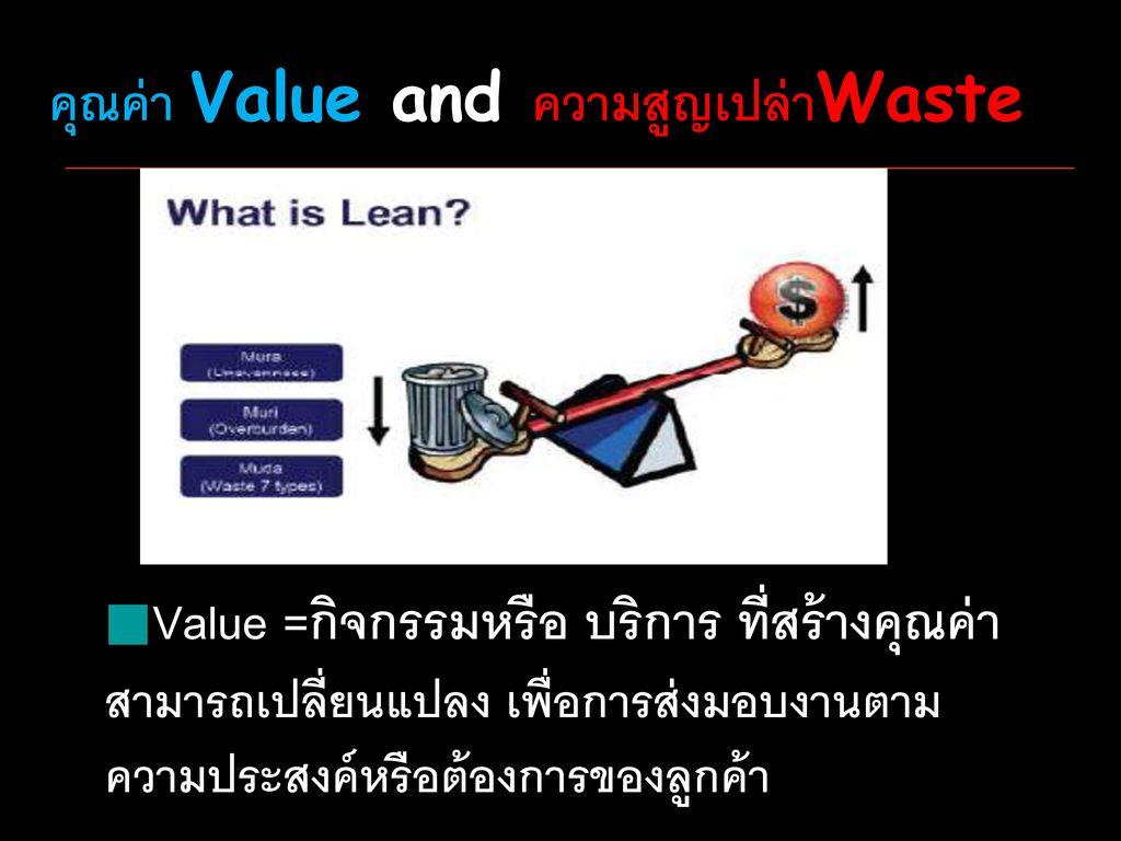 คุณค่า Value and ความสูญเปล่าWaste
