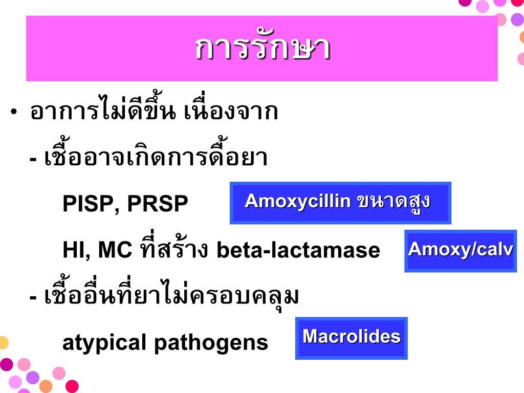 การรักษา อาการไม่ดีขึ้น เนื่องจาก - เชื้ออาจเกิดการดื้อยา PISP, PRSP