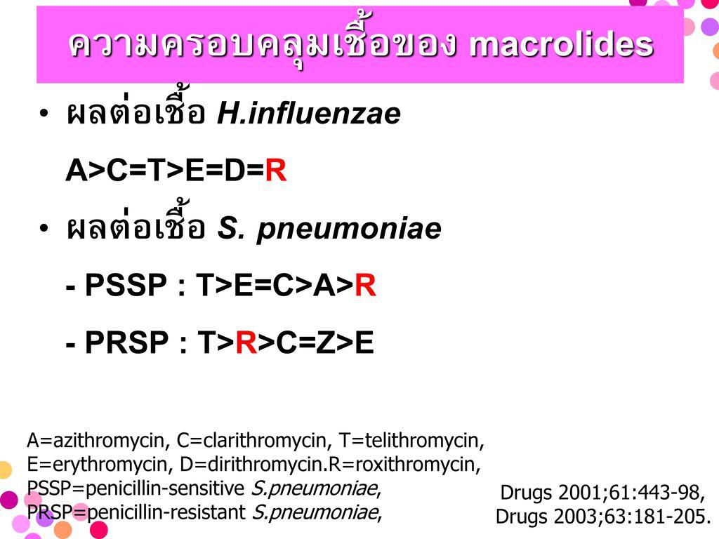 ความครอบคลุมเชื้อของ macrolides