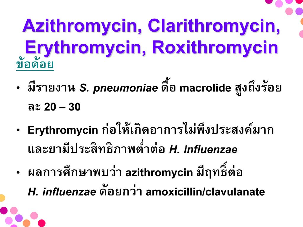 Azithromycin, Clarithromycin, Erythromycin, Roxithromycin