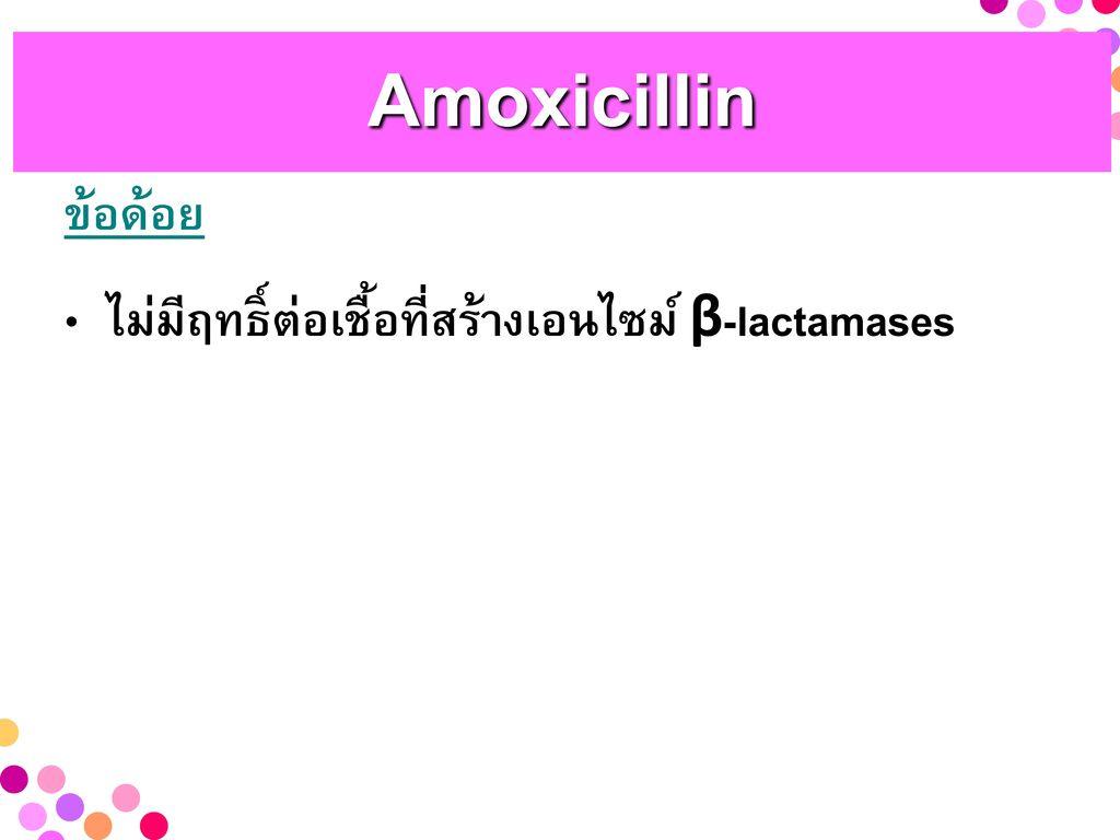 Amoxicillin ข้อด้อย ไม่มีฤทธิ์ต่อเชื้อที่สร้างเอนไซม์ β-lactamases