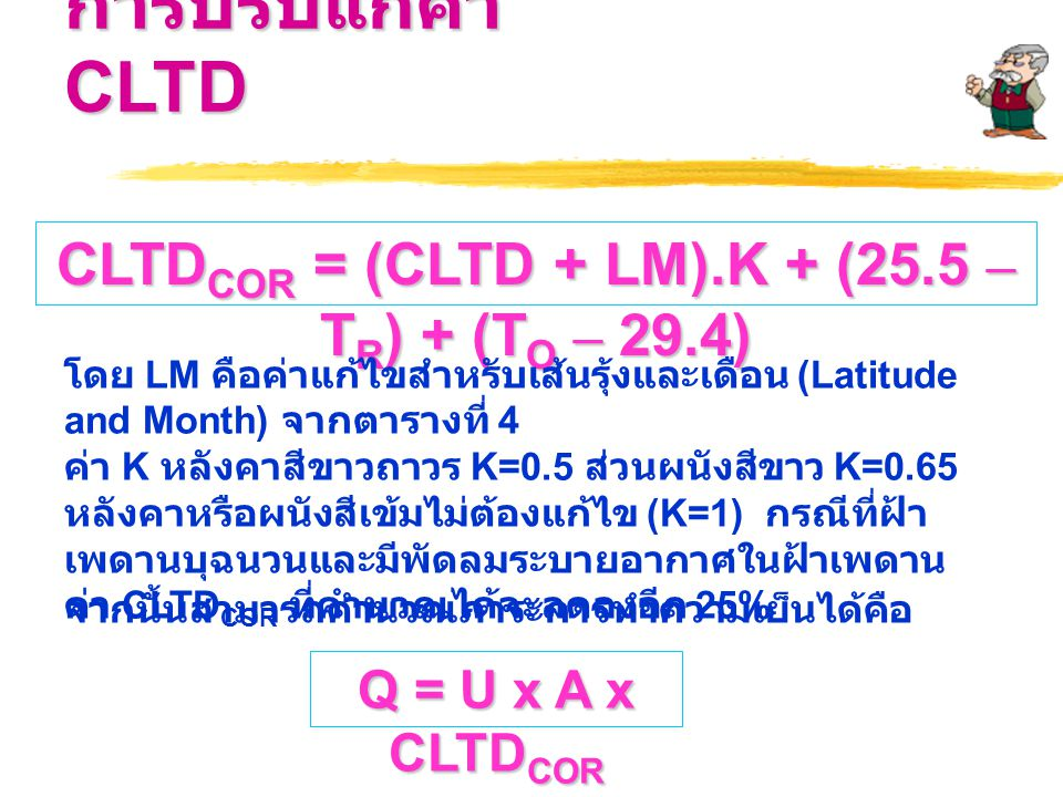 CLTDCOR = (CLTD + LM).K + (25.5 – TR) + (TO – 29.4)