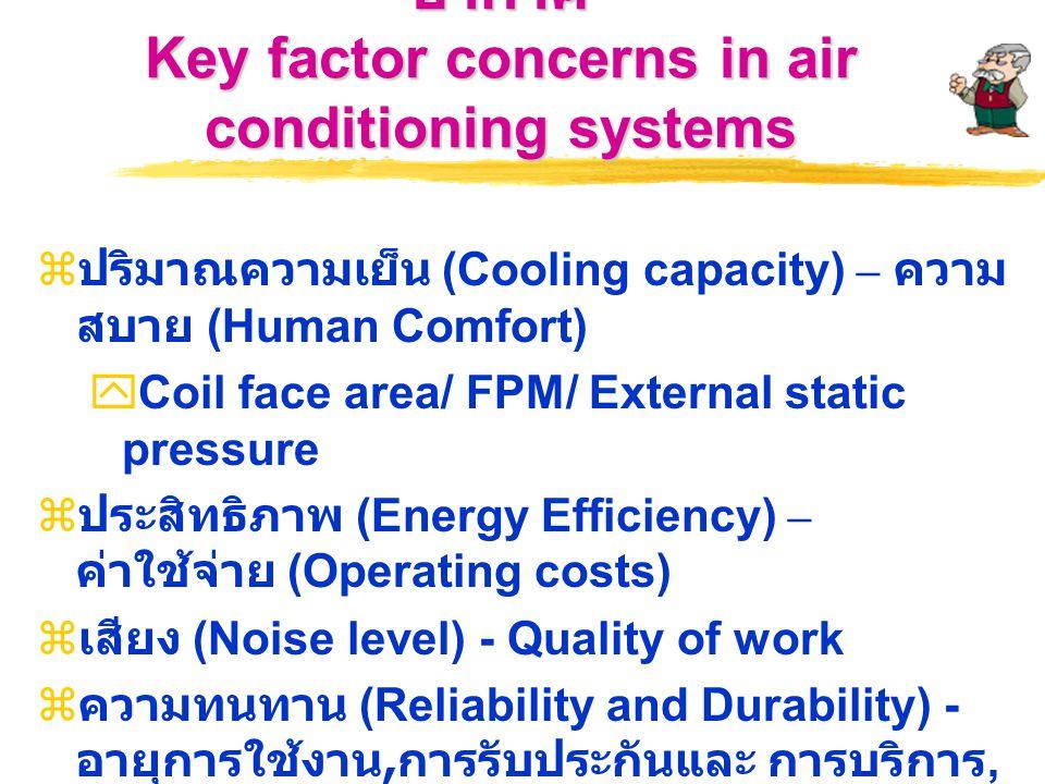 ปัจจัยสำคัญในการพิจารณาระบบปรับอากาศ Key factor concerns in air conditioning systems