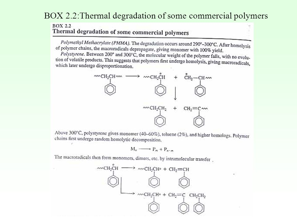 BOX 2.2:Thermal degradation of some commercial polymers