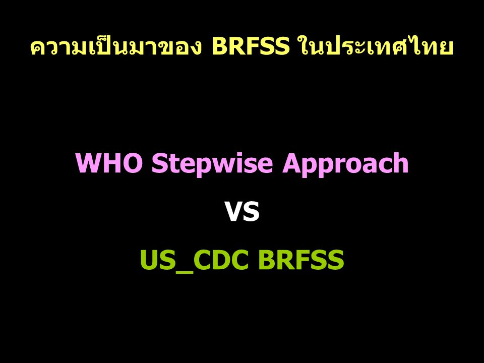 ความเป็นมาของ BRFSS ในประเทศไทย