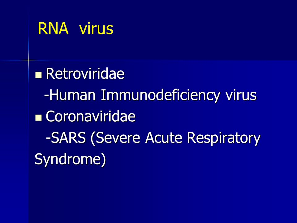 RNA virus Retroviridae -Human Immunodeficiency virus Coronaviridae