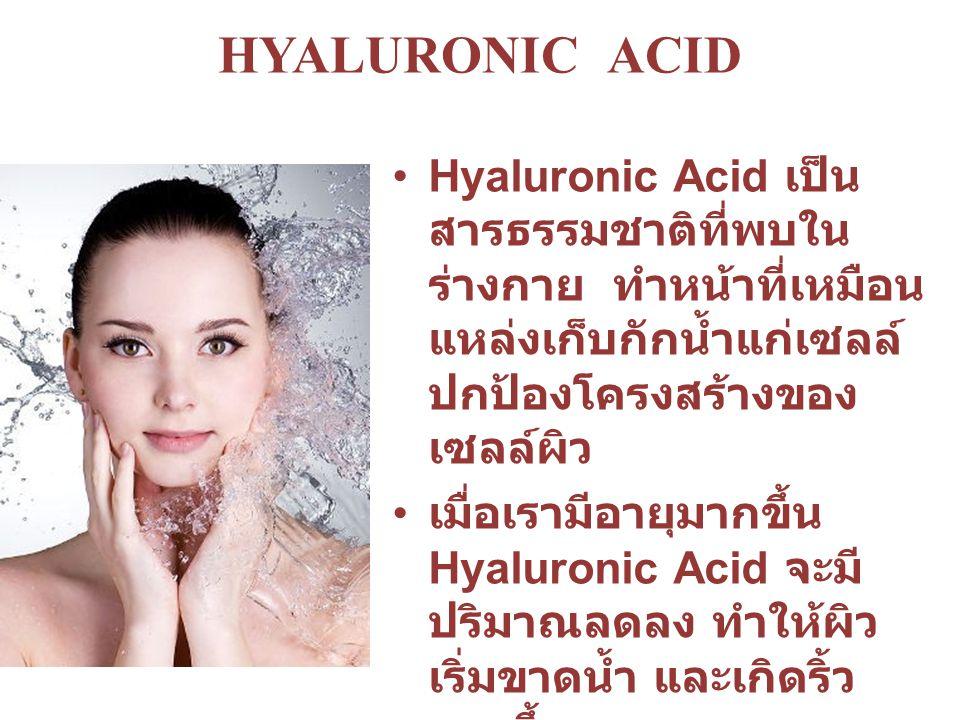 HYALURONIC ACID Hyaluronic Acid เป็นสารธรรมชาติที่พบในร่างกาย ทำหน้าที่เหมือนแหล่งเก็บกักน้ำแก่เซลล์ ปกป้องโครงสร้างของเซลล์ผิว.