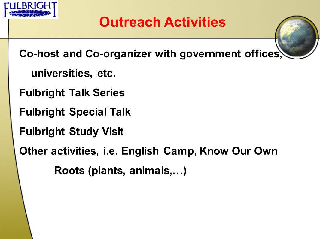 Outreach Activities Co-host and Co-organizer with government offices,