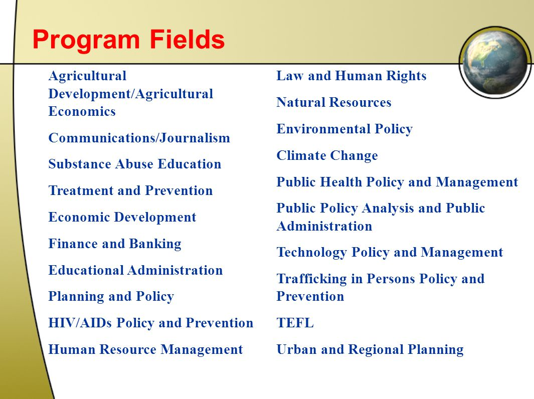 Program Fields Agricultural Development/Agricultural Economics