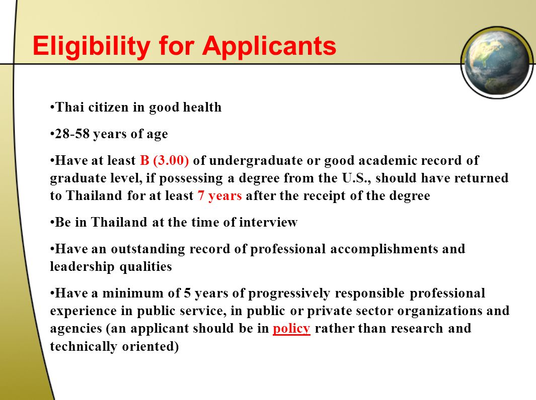 Eligibility for Applicants