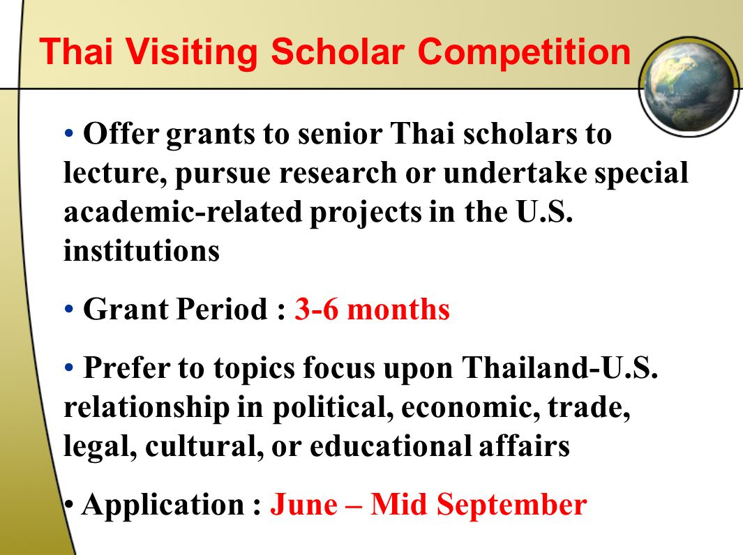 Thai Visiting Scholar Competition