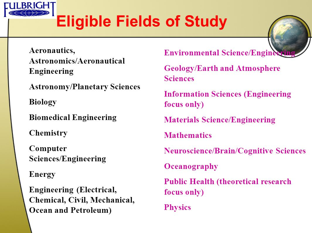 Eligible Fields of Study