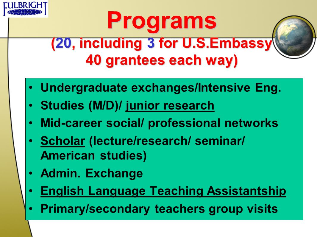 Programs (20, including 3 for U.S.Embassy 40 grantees each way)