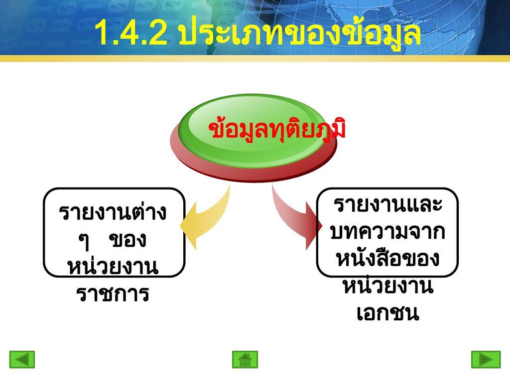 1.4.2 ประเภทของข้อมูล ข้อมูลทุติยภูมิ