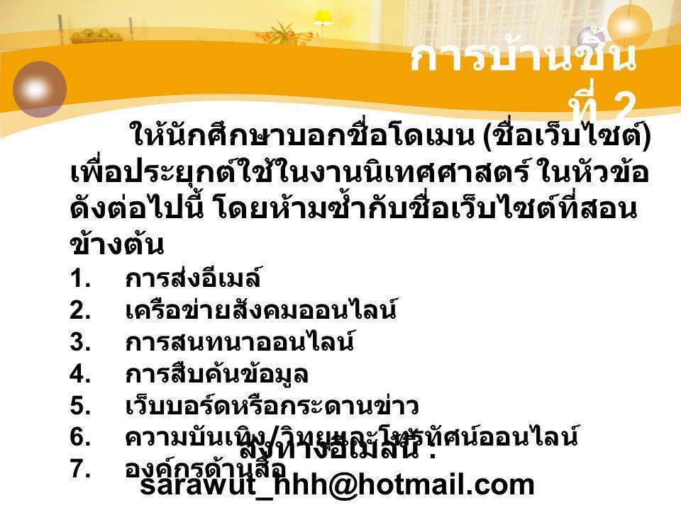 ส่งทางอีเมล์นี้ : sarawut_hhh@hotmail.com