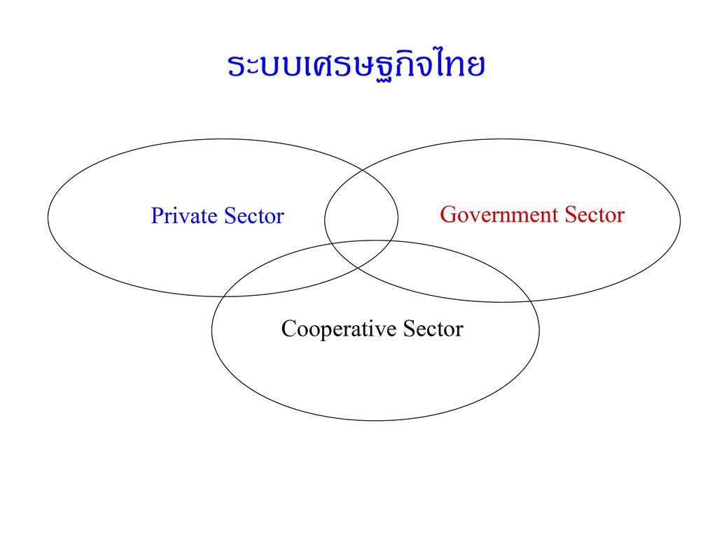 ระบบเศรษฐกิจไทย Private Sector Government Sector Cooperative Sector