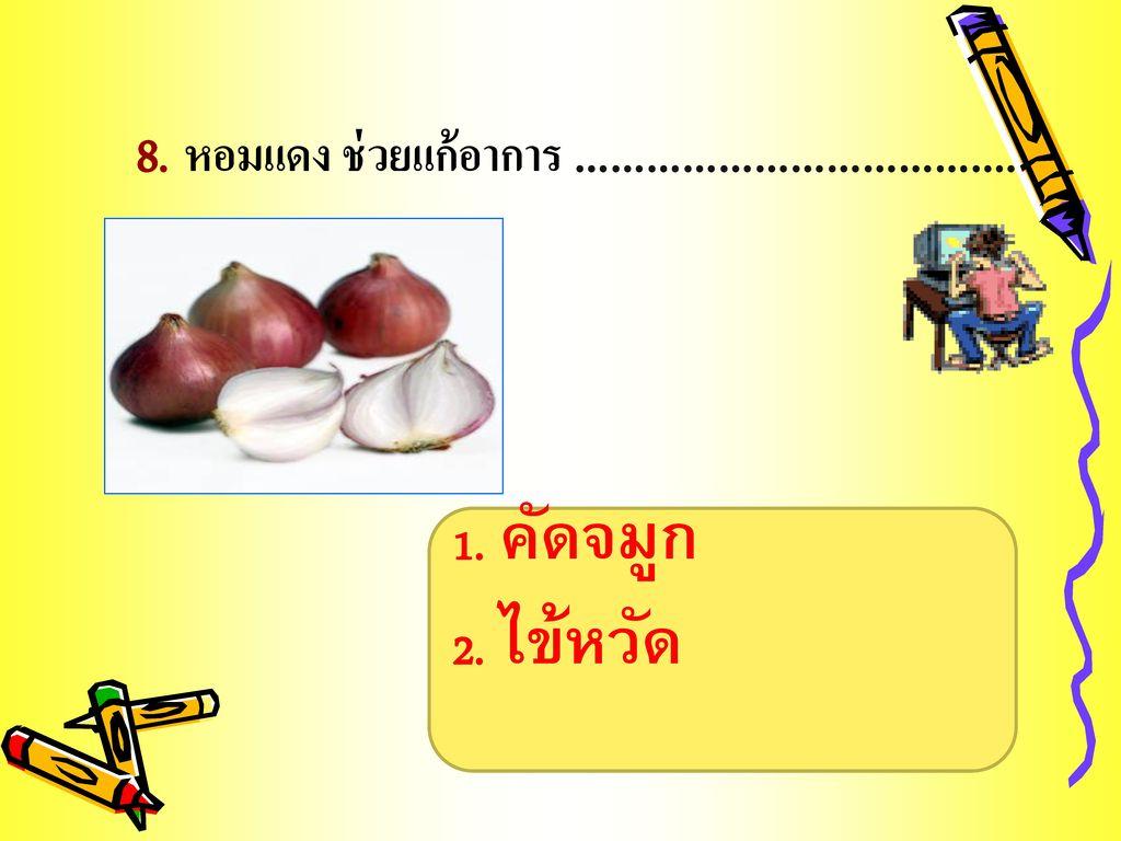 8. หอมแดง ช่วยแก้อาการ ……………………………….