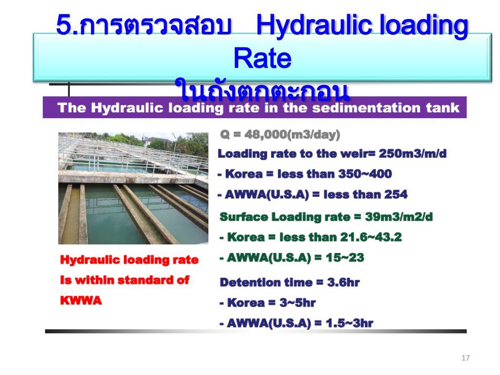 5.การตรวจสอบ Hydraulic loading Rate ในถังตกตะกอน