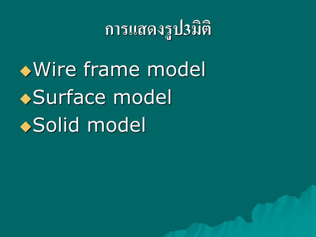 การแสดงรูป3มิติ Wire frame model Surface model Solid model