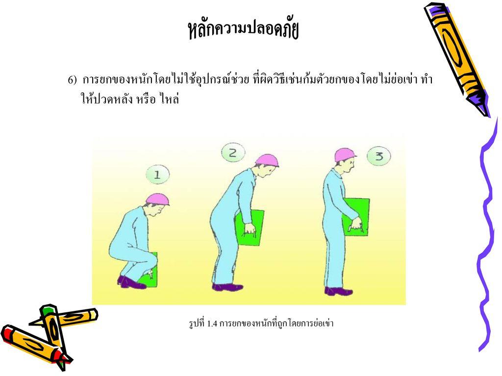 หลักความปลอดภัย 6) การยกของหนักโดยไม่ใช้อุปกรณ์ช่วย ที่ผิดวิธีเช่นก้มตัวยกของโดยไม่ย่อเข่า ทำให้ปวดหลัง หรือ ไหล่