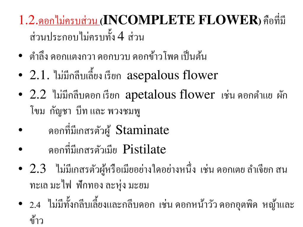 1.2.ดอกไม่ครบส่วน (INCOMPLETE FLOWER) คือที่มีส่วนประกอบไม่ครบทั้ง 4 ส่วน