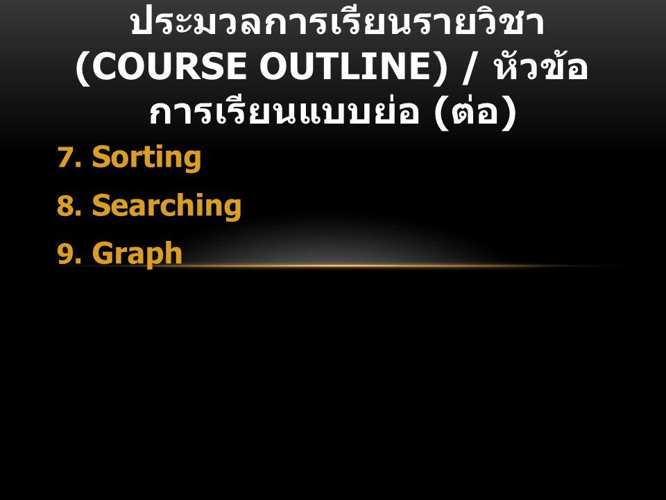 ประมวลการเรียนรายวิชา (Course Outline) / หัวข้อการเรียนแบบย่อ (ต่อ)