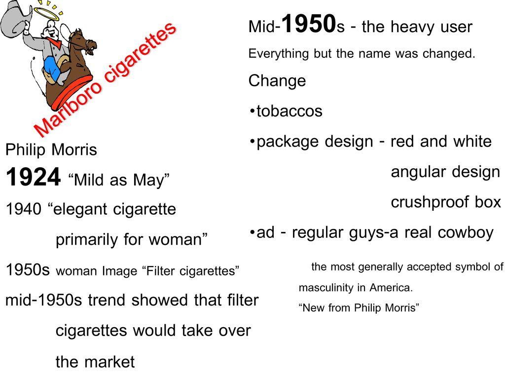 Marlboro cigarettes Mid-1950s - the heavy user Change tobaccos