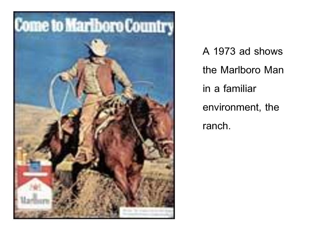 A 1973 ad shows the Marlboro Man in a familiar environment, the ranch.