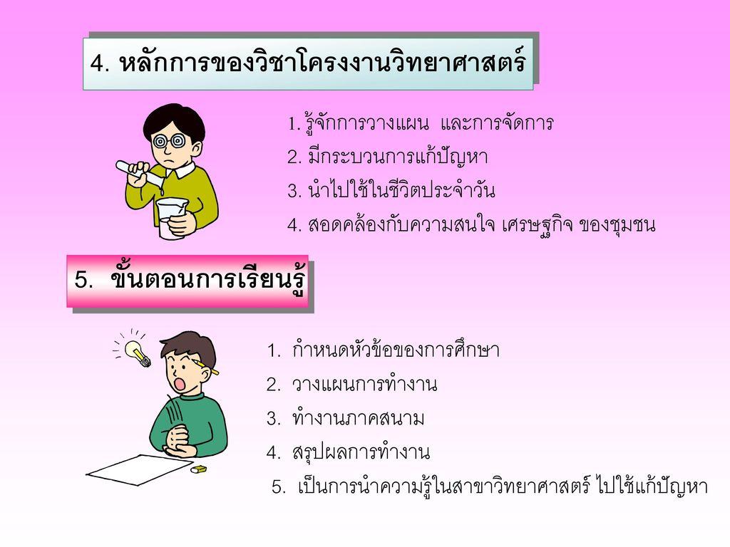 4. หลักการของวิชาโครงงานวิทยาศาสตร์