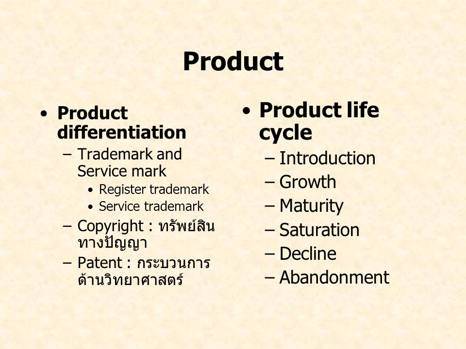 Product Product life cycle Product differentiation Introduction Growth
