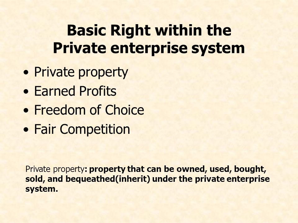Basic Right within the Private enterprise system