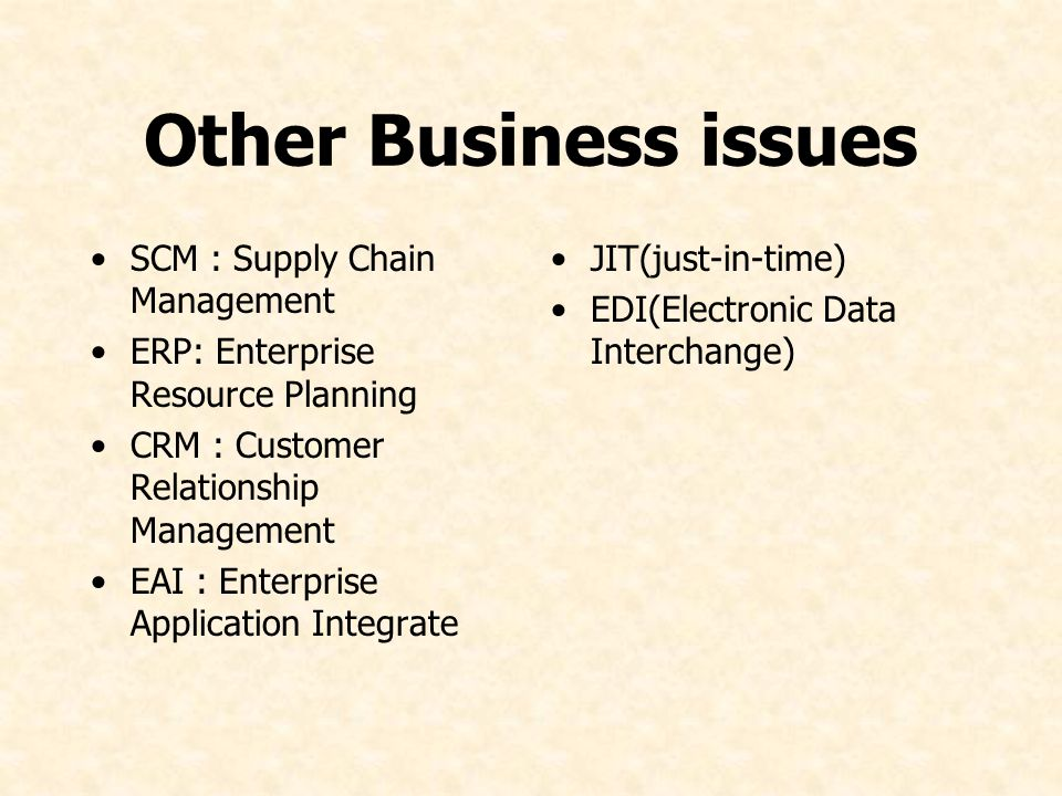 Other Business issues SCM : Supply Chain Management