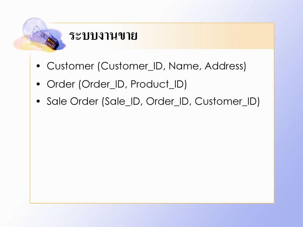 ระบบงานขาย Customer (Customer_ID, Name, Address)