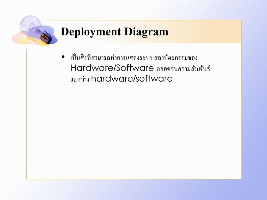 Deployment Diagram เป็นสิ่งที่สามารถทำการแสดงระบบสถาปัตยกรรมของ Hardware/Software ตลอดจนความสัมพันธ์ระหว่าง hardware/software.