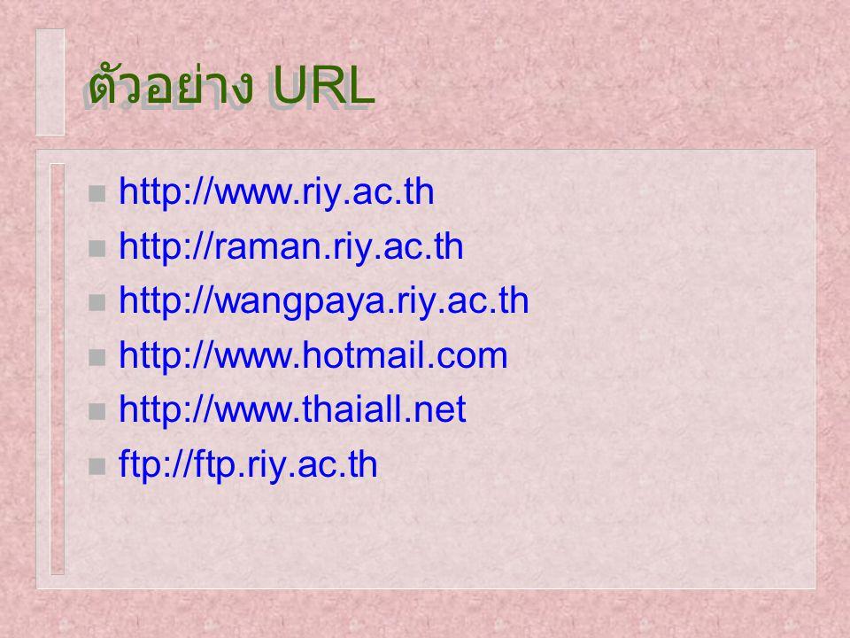 ตัวอย่าง URL http://www.riy.ac.th http://raman.riy.ac.th