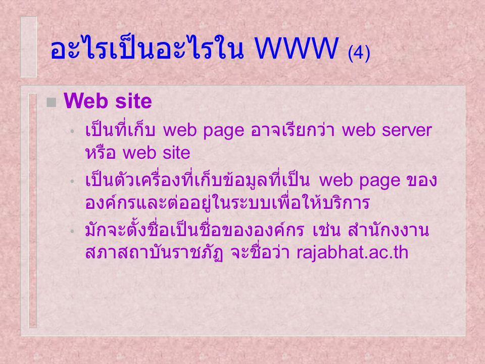 อะไรเป็นอะไรใน WWW (4) Web site