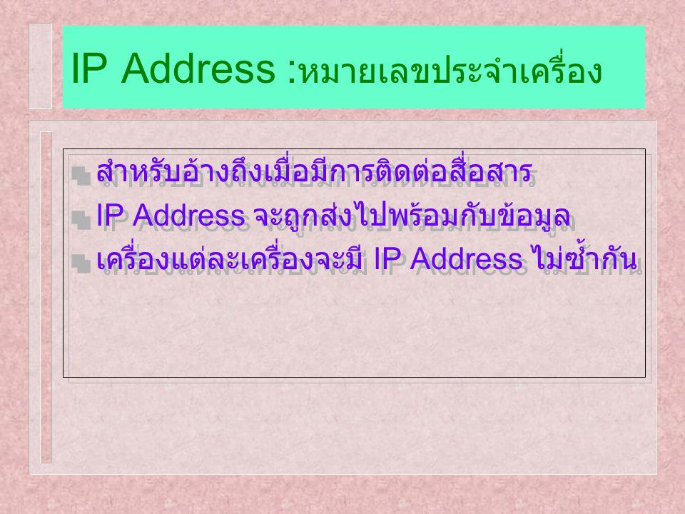 IP Address :หมายเลขประจำเครื่อง