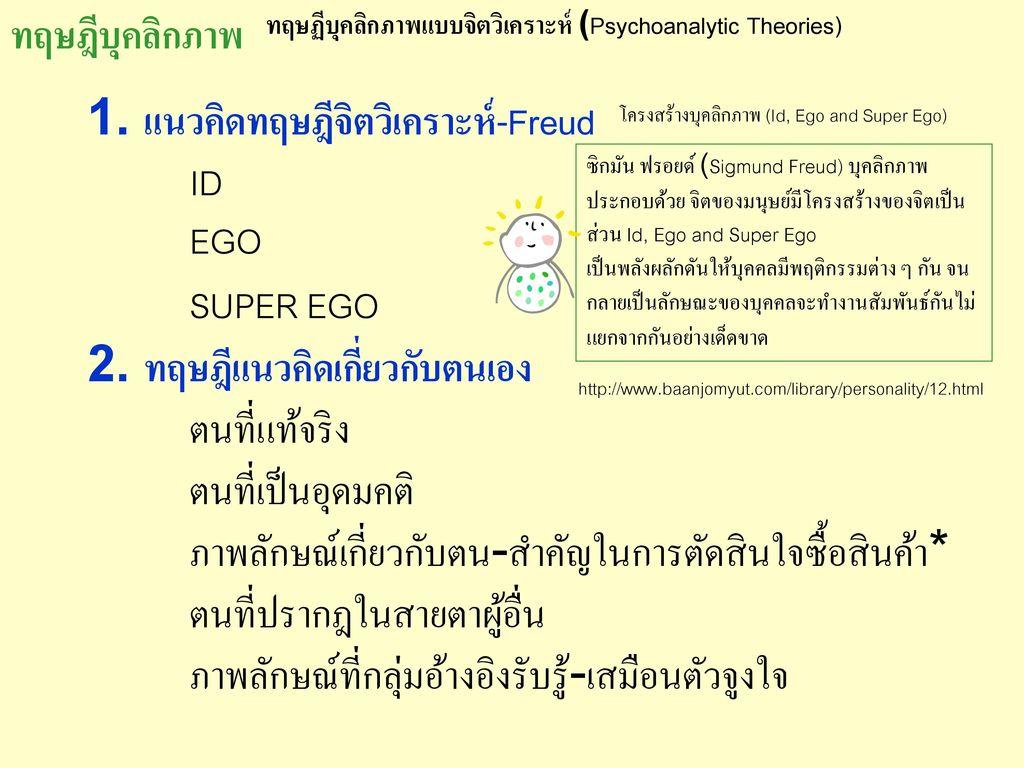 1. แนวคิดทฤษฎีจิตวิเคราะห์-Freud ID EGO SUPER EGO