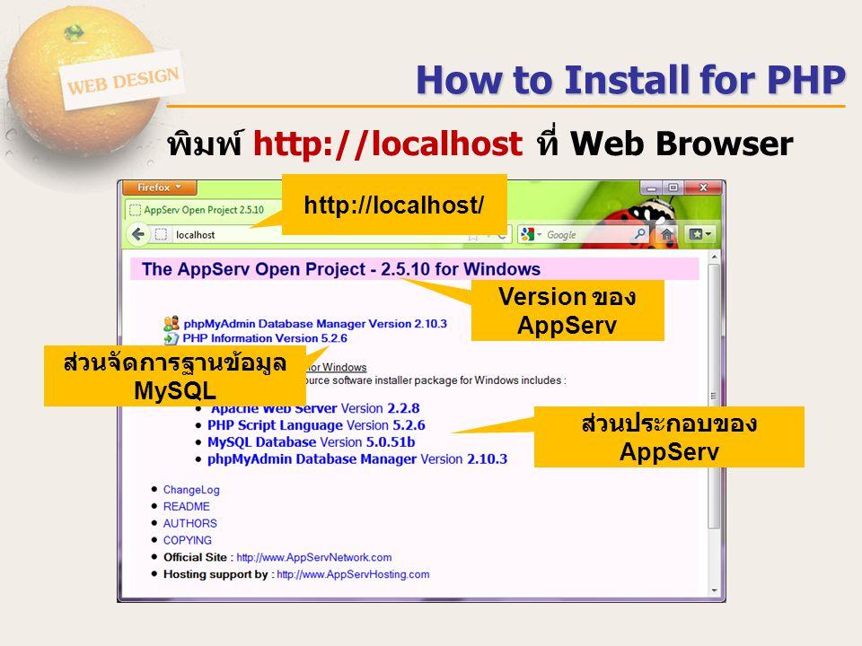 ส่วนจัดการฐานข้อมูล MySQL ส่วนประกอบของ AppServ