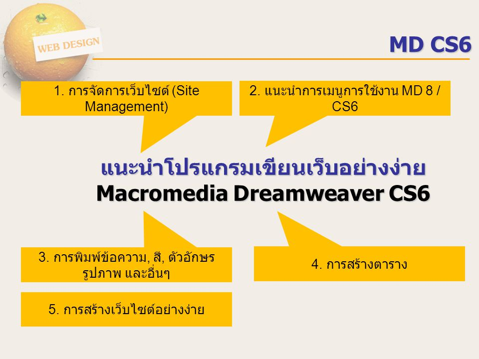 แนะนำโปรแกรมเขียนเว็บอย่างง่าย Macromedia Dreamweaver CS6