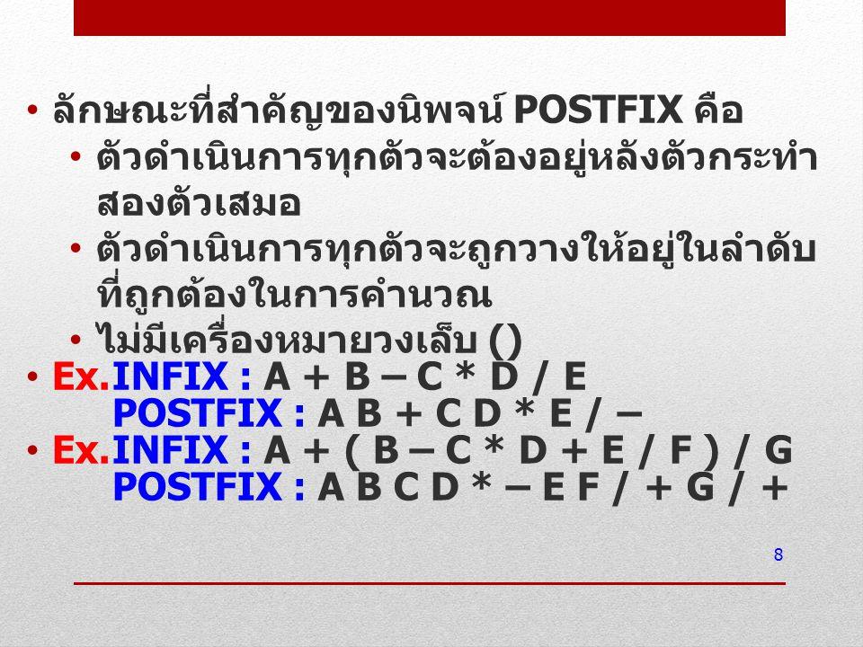 ลักษณะที่สำคัญของนิพจน์ POSTFIX คือ