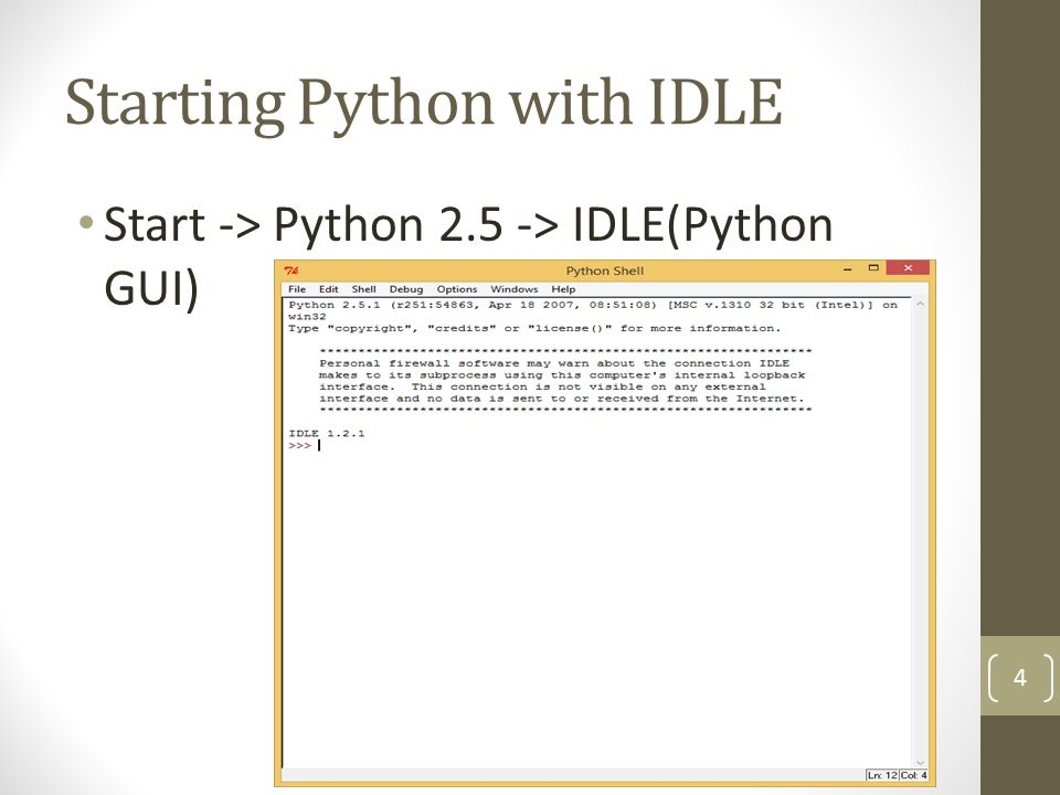 Starting Python with IDLE