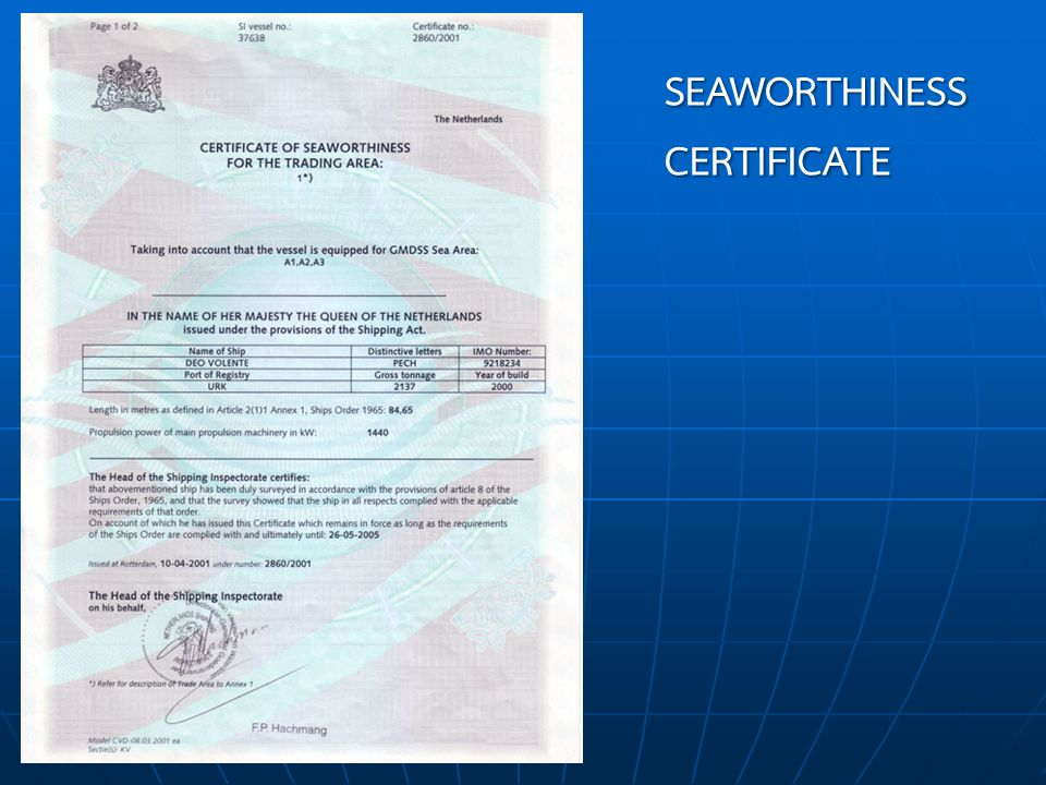 SEAWORTHINESS CERTIFICATE
