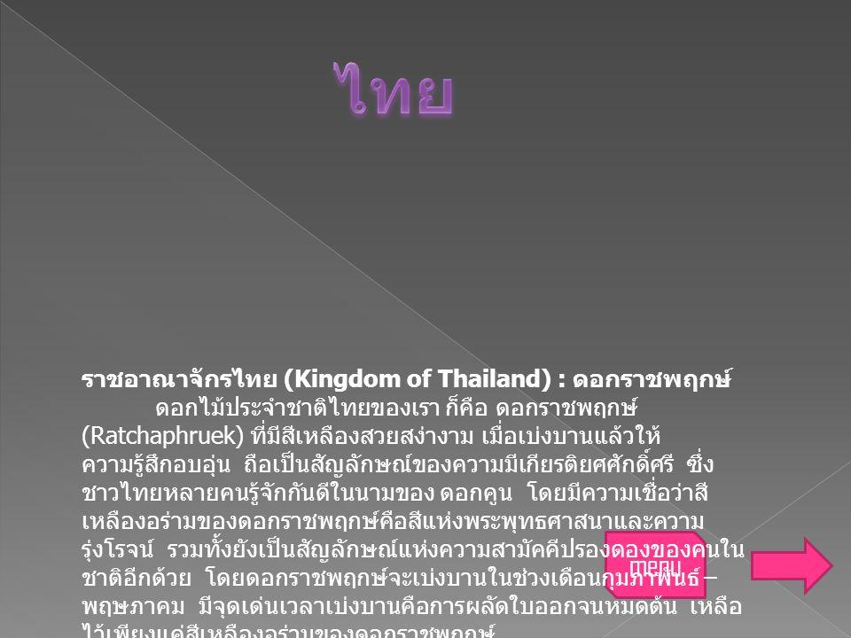 ไทย menu ราชอาณาจักรไทย (Kingdom of Thailand) : ดอกราชพฤกษ์